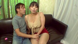 Chubby Japanese chick shows their way boobs increased by sucks a unstinting dick