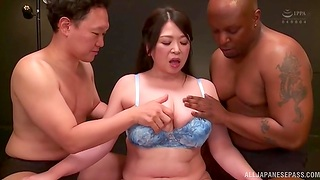 Interracial MMF trinity with cum loving Japanese Kayama Natsuko