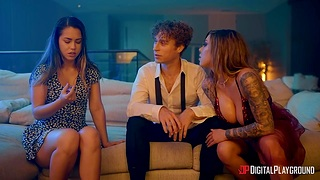 Curly guy bangs X babes Karma Rx and Alina Lopez