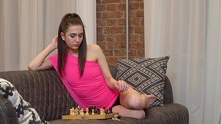 Simmering room-mate Lika loves pleasuring her wet lose one's heart to hole on the couch