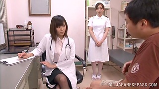 Natural boobs Japanese doctor gives a blowjob and gets fucked hard