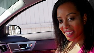 Passionate interracial shafting thither the motor vehicle with cute Deana Dulce