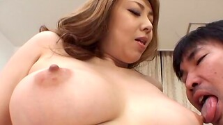 Asian MILF gives a sloppy blowjob and swallows cum involving POV video