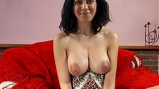 Busty hottie Mai Bailey tries out a thick toy in the sky her tight pussy