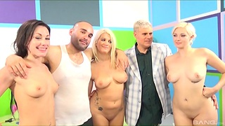 Naked battalion in serious cock sharing group play
