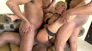 Flaxen-haired MILF roughly fucked of a complete gangbang