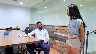 Provocative babes Avery Black increased by Brooklyn Gray share a dick in the office