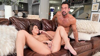 Quickie fucking on the love-seat with cock hungry friend Paige Owens