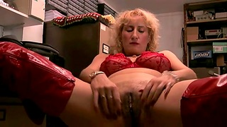 Horny mature slut Naomi drops say no with reference to red lingerie with reference to masturbate