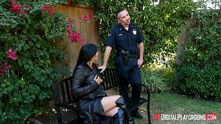 Exhibitionist babe Romi Rain is punished by policemen in uniform Keiran Lee