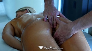 Hard physical business woman Audrey Irons needs a full body massage with happy ending