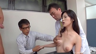 Japanese soaked in sperm wide of place colleagues