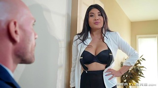 Brenna Sparks in ripped pantyhose is fucked by unconcealed headed confront Johnny Sins