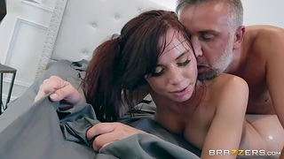 Aidra Fox sucks huge cock sticking out of pants and gets her pussy nailed